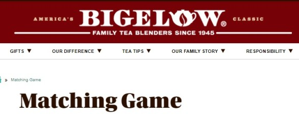 Bigelow Tea Matching Games Sweepstakes - Stand To Win Bigelow Tin of Tea
