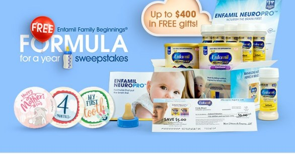 Enfamil Family Beginnings Formula for a Year Sweepstakes - Enter To Win A Year's Supply Of Enfamil or Enfagrow Branded Formula