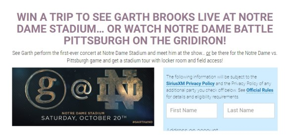 SiriusXM-Garth-Brooks-At-Notre-Dame-Sweepstakes