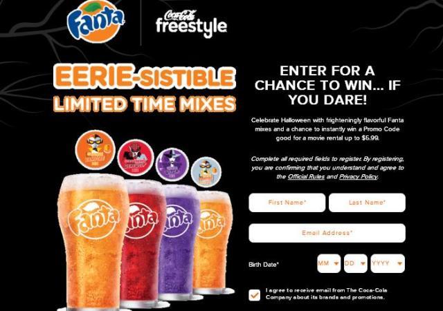 Coca-Cola Freestyle 2018 Fanta Halloween Instant Win Game – Win