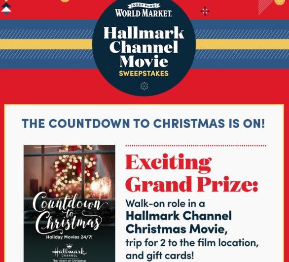 Cost Plus World Market's Hallmark Channel Movie Sweepstakes – Win A Trip To Canada