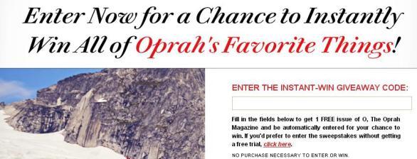Oprah's Favorite Things Instant Win Sweepstakes