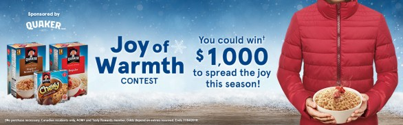 Tasty Rewards and Quaker Joy of Warmth Contest - Enter To Win $1000 Cash Prize