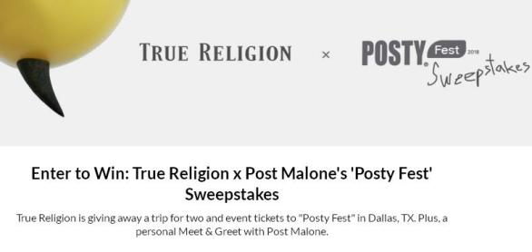 True Religion x Posty Festival Sweepstakes – Win A Trip To Dallas
