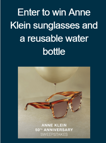 VSP Vision Care 50th Anniversary Anne Klein Giveaway - Enter To Win Anne Klein Sunglasses And A Reusable Water Bottle