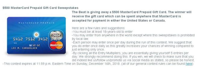 The Beat $500 MasterCard Prepaid Gift Card Sweepstakes
