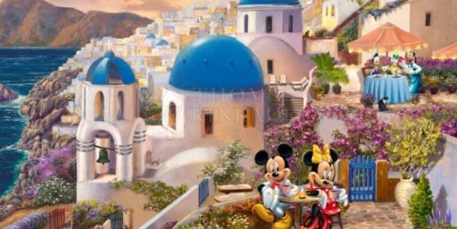 JAK Schmidt Thomas Kinkade Studios Mickey And Minnie In Greece Sweepstakes