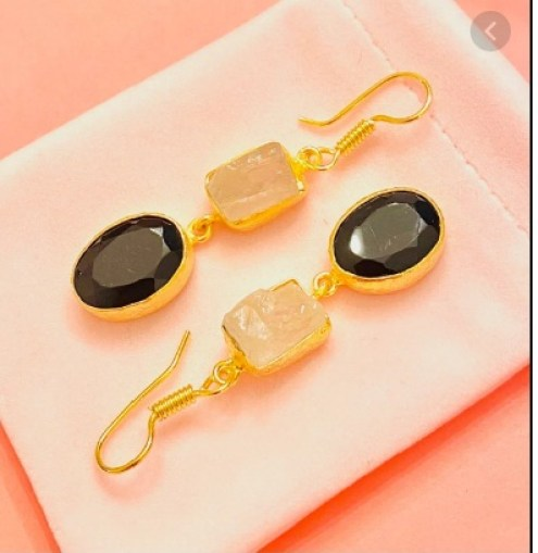 $42 Onyx And Raw Crystal Earrings Giveaway
