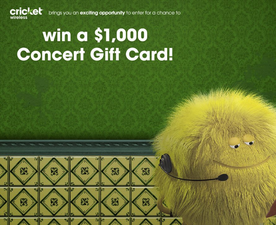 Cricket Concert Gift Card Sweepstakes
