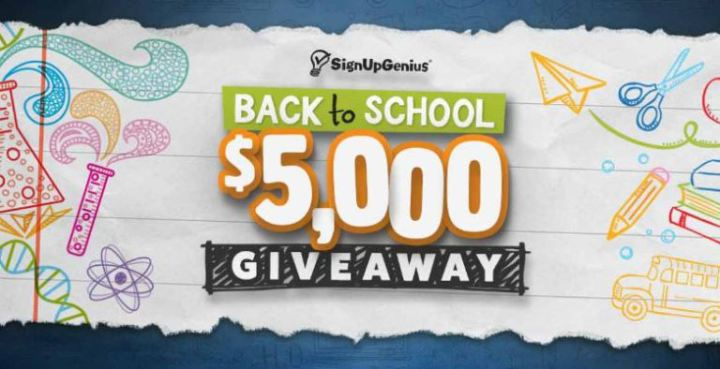 SignUpGenius $5,000 Back to School Giveaway - Win $5,000 Cash Prizes