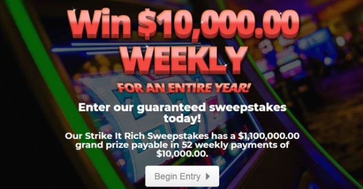 PrizePub Strike It Rich Sweepstakes – Win $1.1 Million
