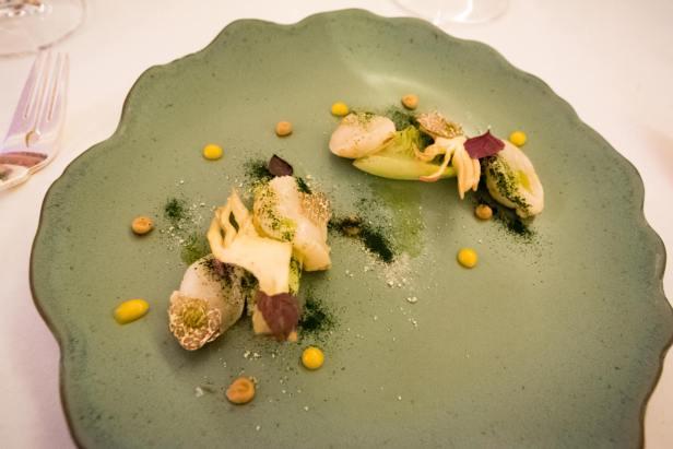 Imago Restaurant in Hassler Hotel Rome - Scallops, bottarga, truffle, leeks, artichoke