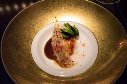 L'Atelier Robuchon in Montreal - Black cod, sauce civet, Malabar pepper crisp, spinach