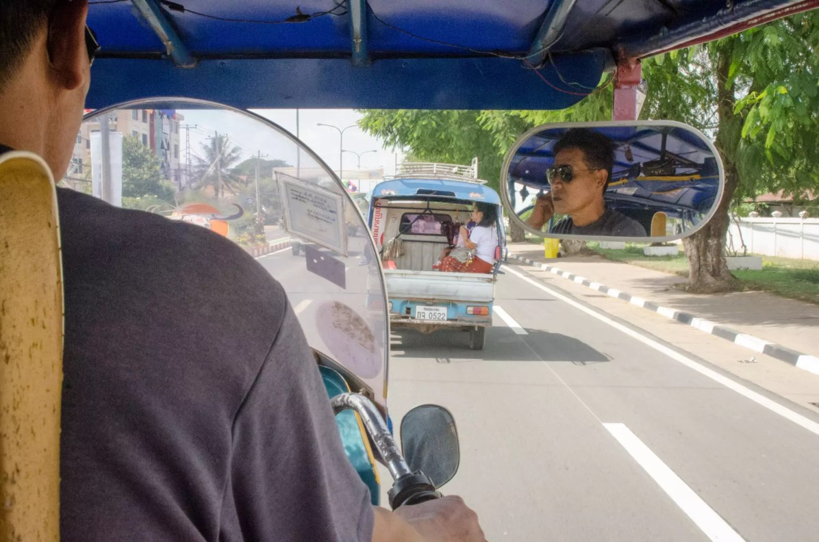 On a tuk tuk in Vientiane in Laos