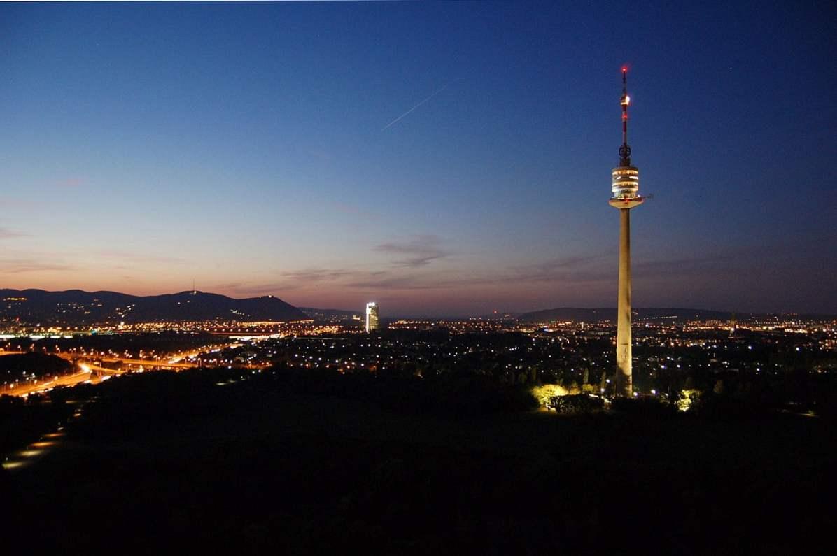 Vienna Donauturm night view - CC0 / Public Domain - Things to do in Vienna