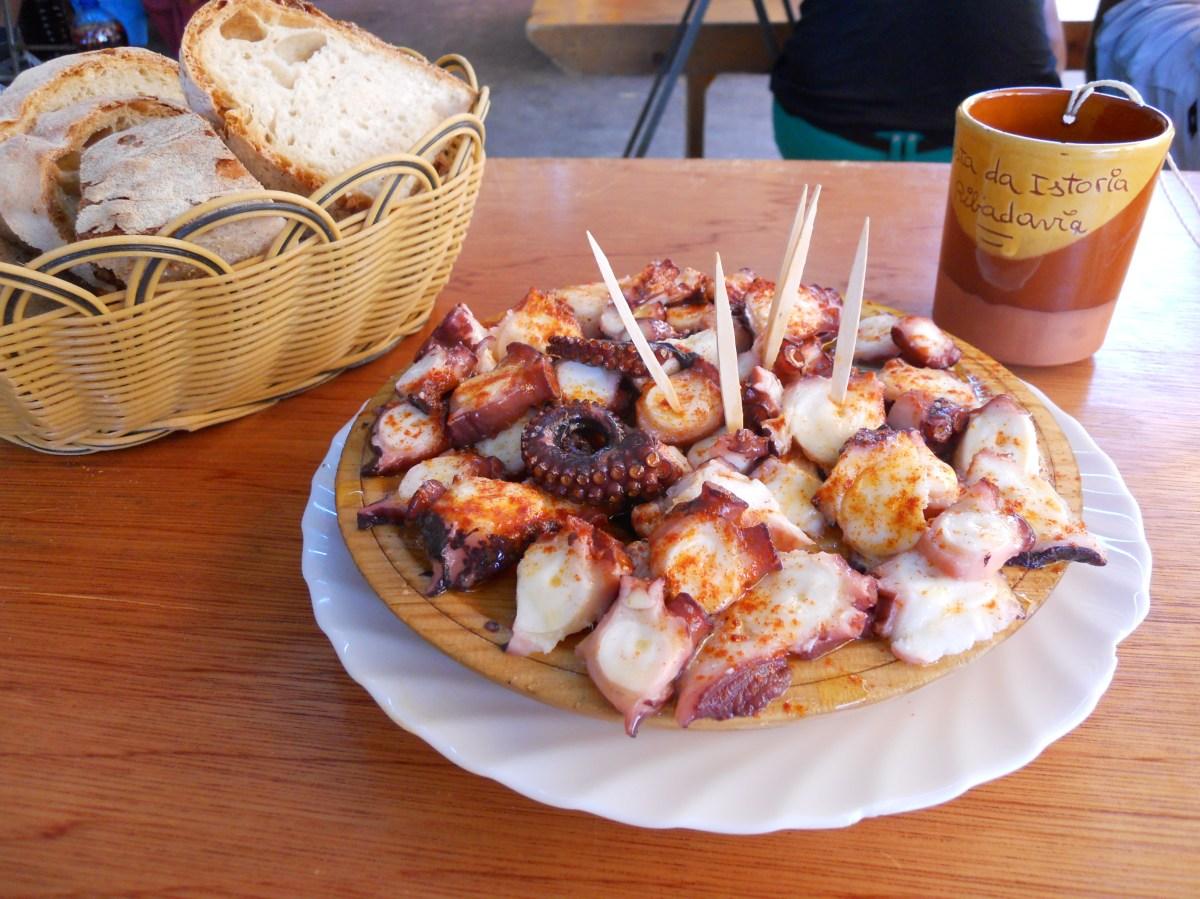 Cuts of octopus with seasonings