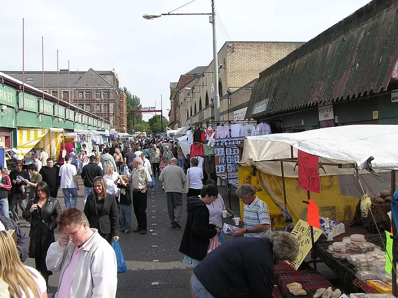 Some of the stalls at The Barras Market - photo by Finlay McWalter under GFDL and CC-BY-SA-3.0-migrated