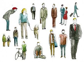 Illustrationen Menschen für Cover vom Geschäftsbericht und Magazin 2014 der GASAG