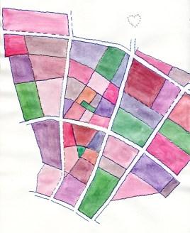 Stadtillustration: Material illustrierte Bezirkskarte von Prenzlauer Berg