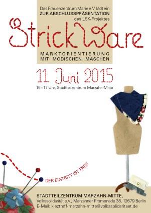 Postkarte: Einladung zur Abschlussveranstaltung des Projekts StrickWare. Collage (Papier, Stoff und Kurzwaren)