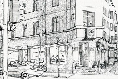 """Entwurf illustrierte Postkarten """"Café Pfau"""", Tusche"""