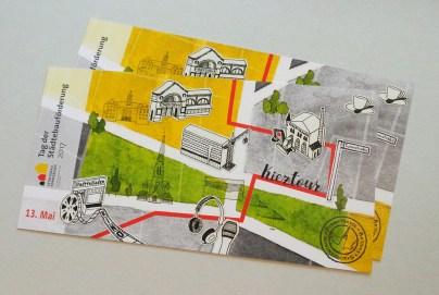 "Illustrierte Postkarten ""Kieztour durch Berlin-Moabit"", Aquarell und Tusche"