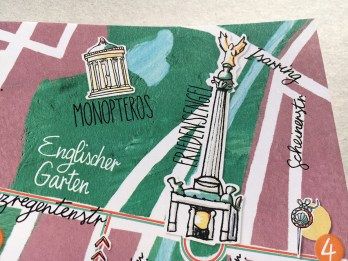 Stadtplan von München, Details Friedensengel und Monopteros