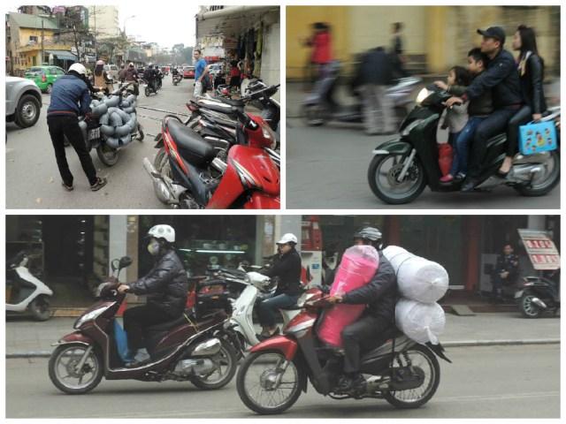 Tudo o que se pode levar em cima de uma moto.