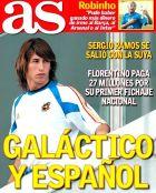 """Το πρωτοσέλιδο της As την 1η Σεπτεμβρίου 2005: """"Και γκαλάκτικο και Ισπανός""""."""