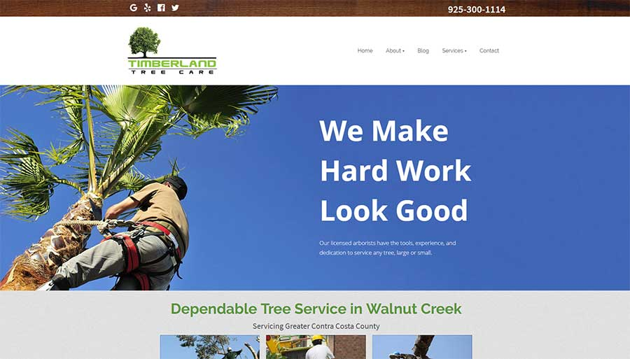 Timberland Tree Care website for an arborist
