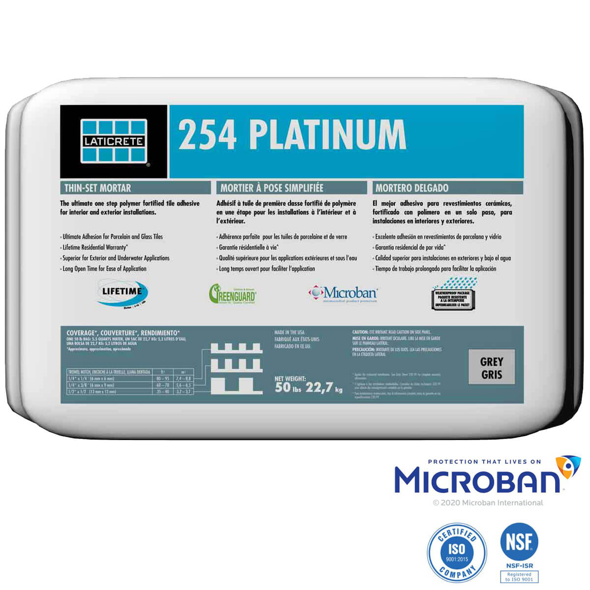257 Titanium 254 Platinum etc and seams are treated with a polymer fortified thin-set mortar and HYDRO BAN Sheet Membrane Sealing Tape. Laticrete 254 Platinum Thinset Mortar Grey 56 Piece Full Pallet