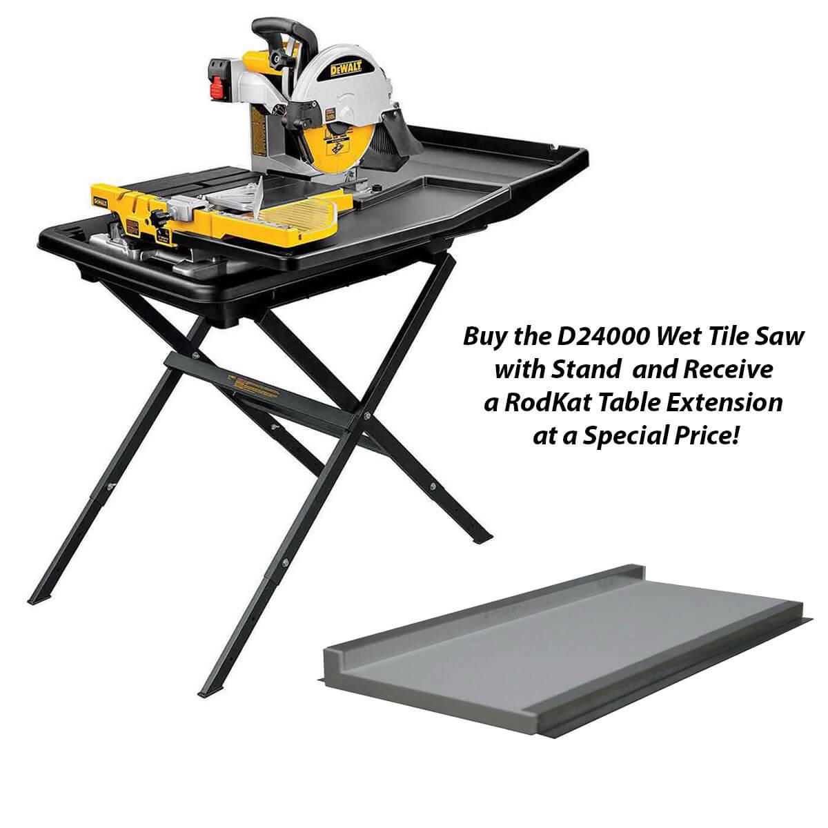 6036ext dewalt d24000 wet tile saw with rodkat table extension