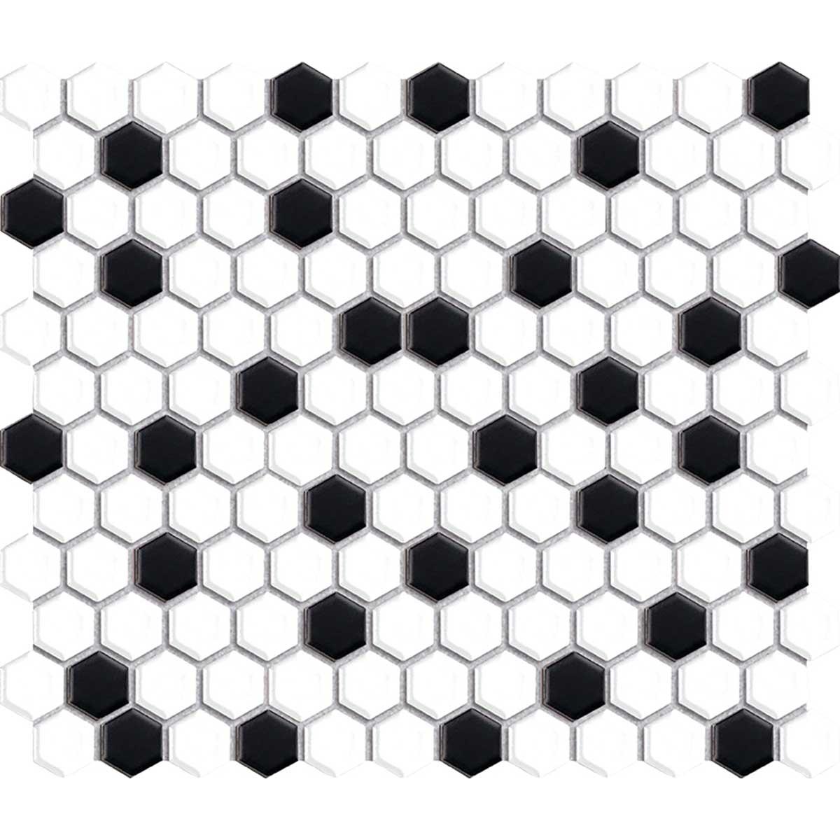 interceramic white black hexagon mosaic tile pattern