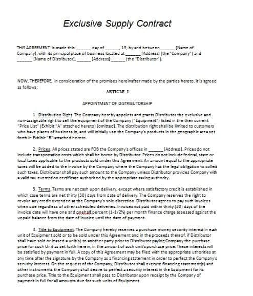 Vendor Agreement Template. download template get 1800 business ...