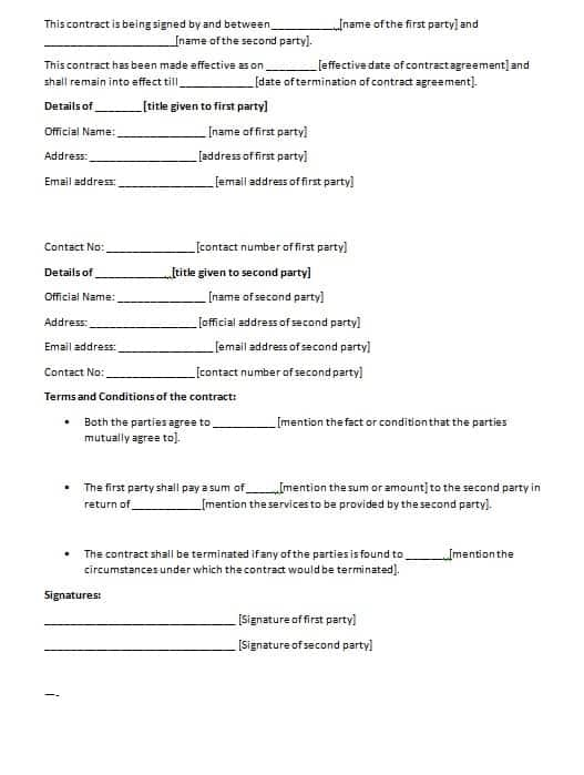 Contract Agreement Templates free contract templates word pdf – Format for Contract