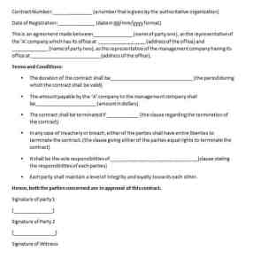 management contract template