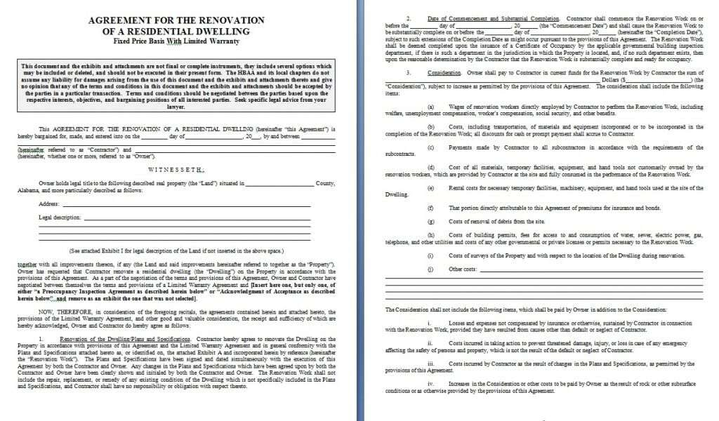 Download Renovation Contract Template:  Legal Contracts Templates Free