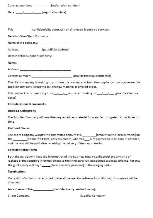 Confidentiality Contract Template  Contract Agreements Formats