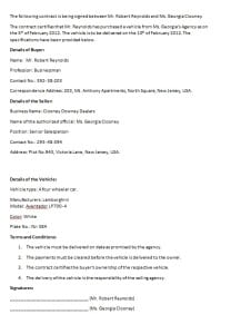 vehicle contract template contract agreements formats examples