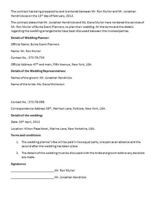 English Wedding Contract  Contract Templates