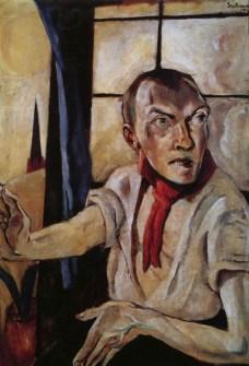 Resultado de imagen de Autorretrato con bufanda roja (1917), Beckmann