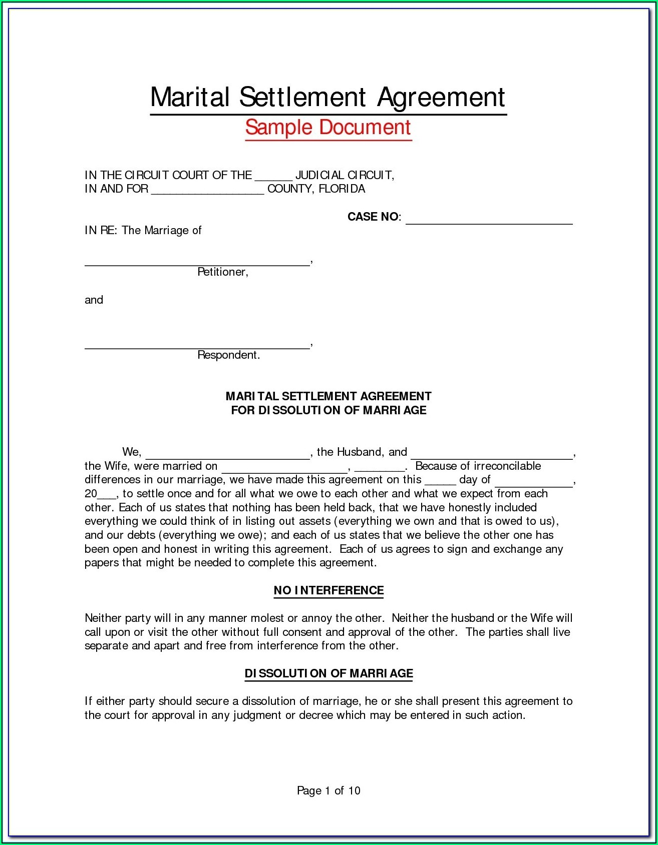 Marriage Separation Agreement Template Virginia