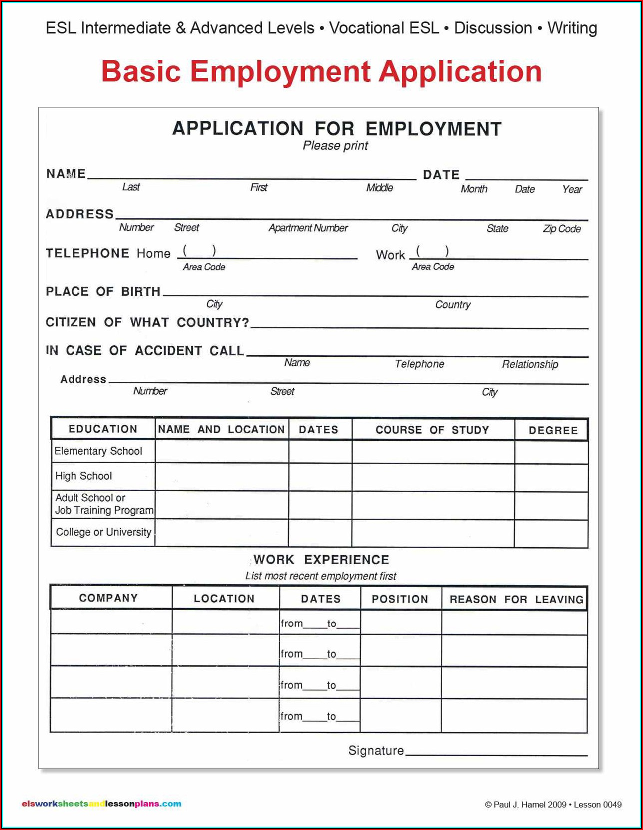 W2 Form For Employment