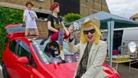 Pam Hogg exhibits her art at the Vauxhall Art Boot sale in Brick Lane London