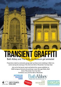 Transient Graffiti, Bath Abbey and the Holburne Museum, Bath