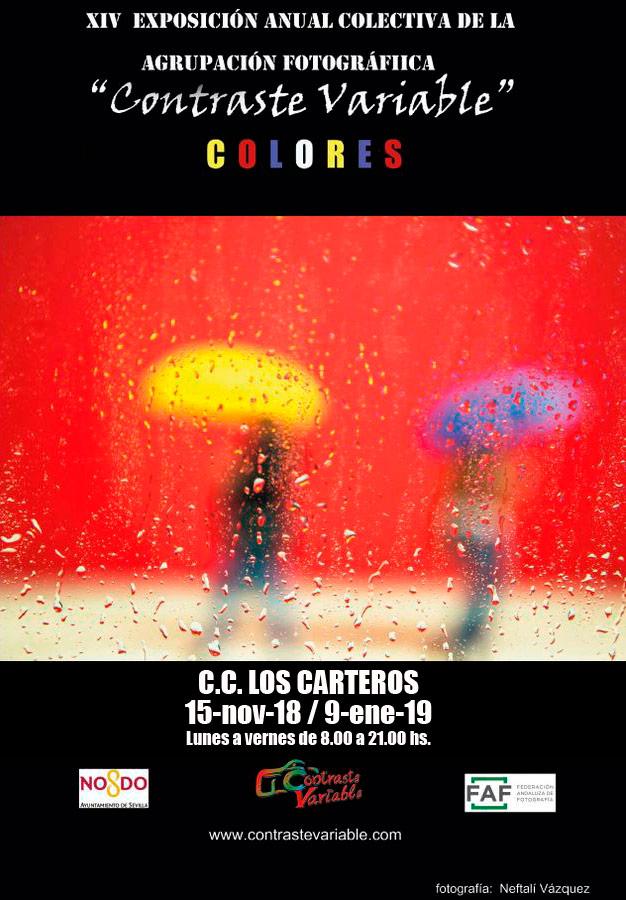cartel exposición colores en en centro civico los carteros