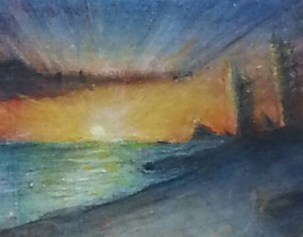 "Miniature Painting ""Pacific NW Sunset circa 2253"" by Matt DiPIetro 9mm x 11mm"