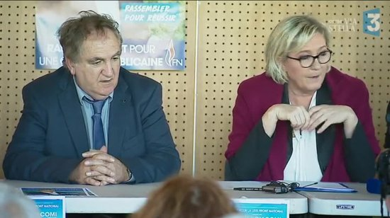 Charles Giacomi et Marine Le Pen en campagne
