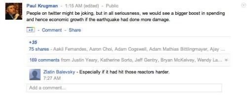 Paul Krugman aurait souhaité un tremblement de terre plus fort