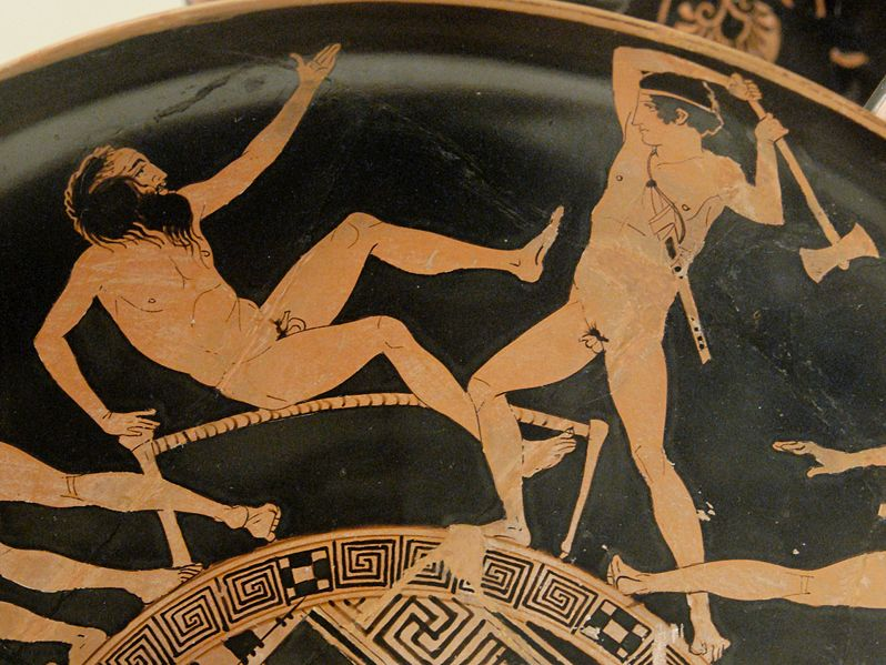 Thésée et Procuste, kylix attique à figures rouges, vase 440-430 av. J.-C., British Museum